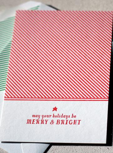 Merry Stripes boxed letterpress flat cards | Smock | eco stationery