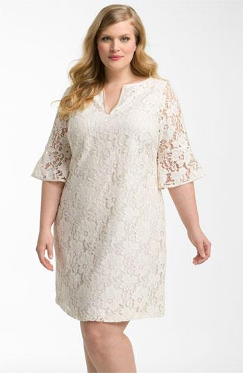 Adrianna Papell Lantern Sleeve Lace Dress (Plus) | Nordstrom
