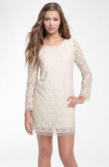 Velvet Torch Long Sleeve Lace Dress (Juniors) | Nordstrom