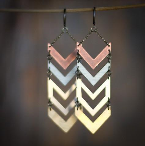 chevron / Multi Metal Chevron Earrings by scarlettgarnet