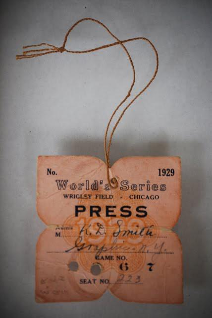 Design Inspiration / Press Pass from the 1929 World Series at Wrigley Field.