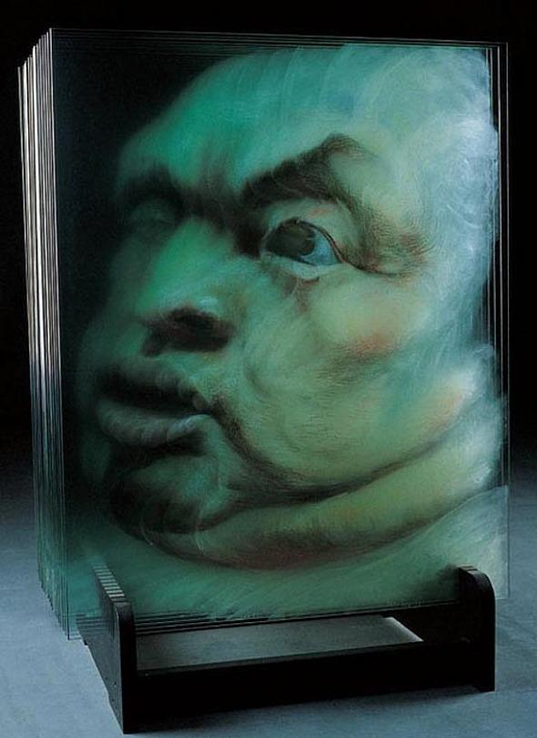 3D Paintings on Panes of Glass