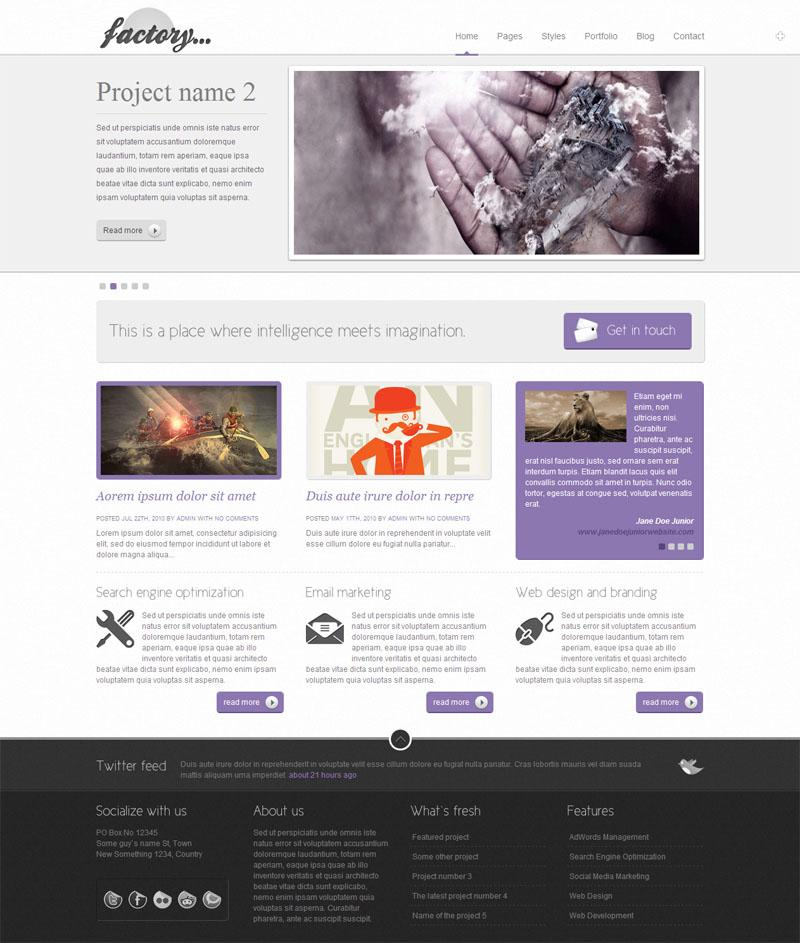 Factory - 8 in 1x2 - Business / Portfolio template - ThemeForest Previewer