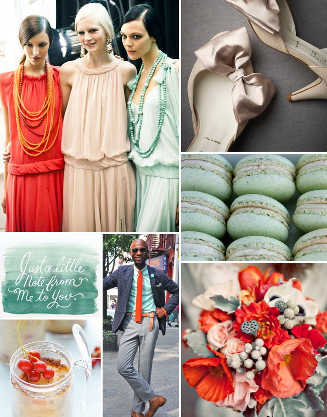 Inspiration Board #39: Mint Green, Blush + Poppy Red | Green Wedding Shoes Wedding Blog | Wedding Trends for Stylish + Creative Brides