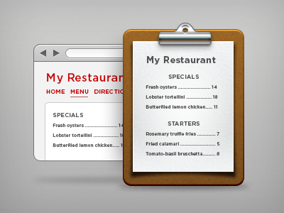 Menus by Evan Brooks
