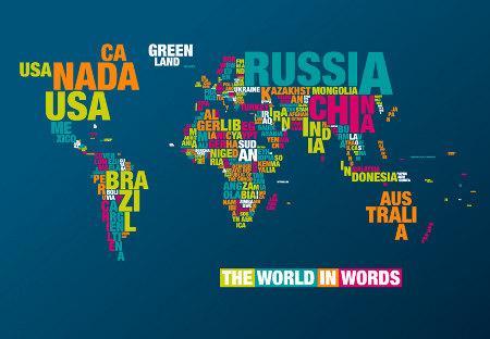 """Les """"Typomaps"""", des cartes du monde réalisées à partir de différentes tailles de caractères  """