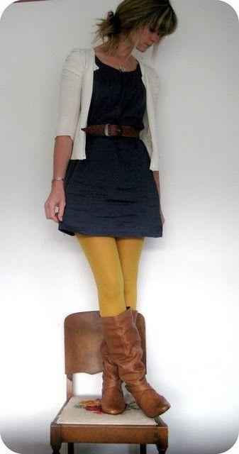 My Style / LOVE the yellow tights!
