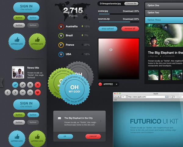 Futurico Pro User Interface elements PSD pack (200) - Free Download now