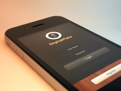 DigalPlate iPhone App GUI - Login by Asmir Sinanovic