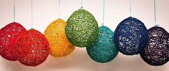 Rainbows / Rainbow yarn balloons. Beautiful!