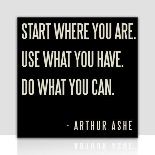 Start where you are. Use what you have. Do what you can. Quote by Arthur Ashe.