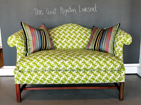 before & after: spruce's sofa and loveseat + jutta's lamp   Design*Sponge