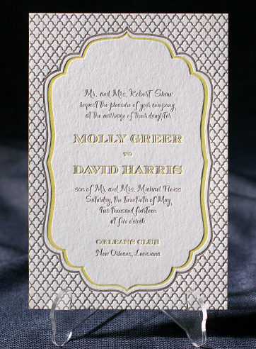 Dawson wedding invitations | Smock | vintage, rustic, eco-friendly, chartreuse, taupe, sleeve