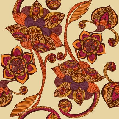 Boho Flowers Art Print by Valentina | Society6