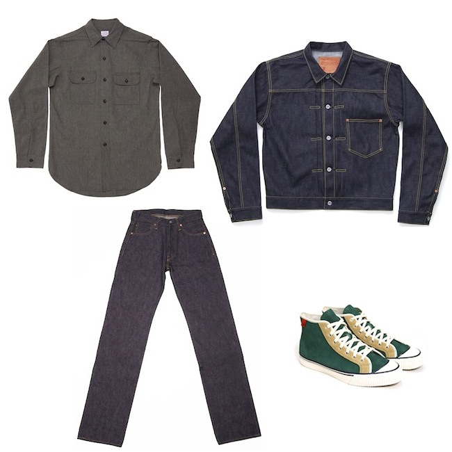 Samurai Jeans 17oz Relaxed Fit S3000VX WWII Model | Studio D'Artisan Natural Indigo Denim Jacket | Warehouse Shirt Black Chambray Work Style | Studio D'Artisan Sneaker KEDS Green discount sale voucher promotion code | fashionstealer