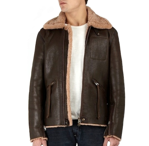 Acne Brown Leather Sheepskin Flight Jacket discount sale voucher promotion code | fashionstealer