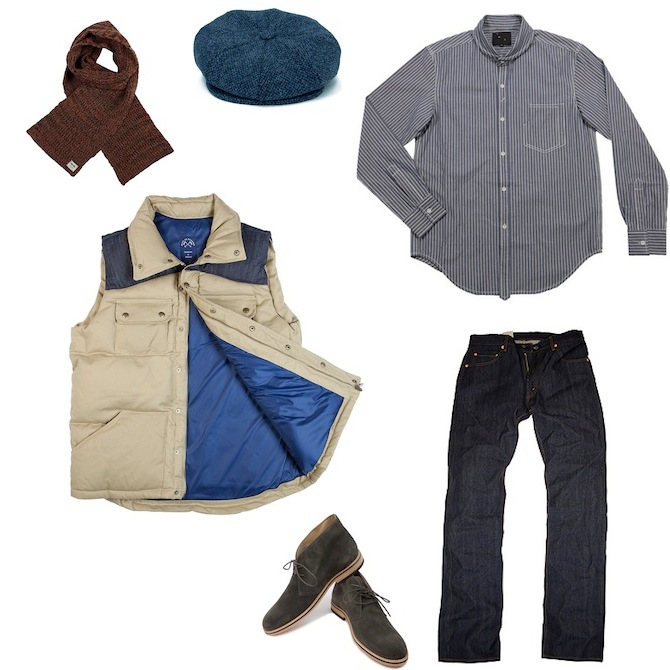 Blue De Paname Serge Croise Down Vest | YMC Railroad Shirt | Levis Vintage Clothing 1967 505 Rigid | Opening Cerermony Desert Boot Grey | Blue De Paname Beret Harris Tweed | Wood Wood Collins Knitted Scarf discount sale voucher promotion code | fashionstealer
