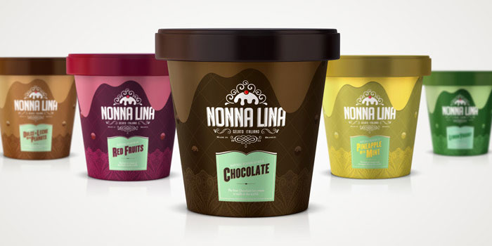 Nonna Lina Gelato Italiano - TheDieline.com - Package Design Blog