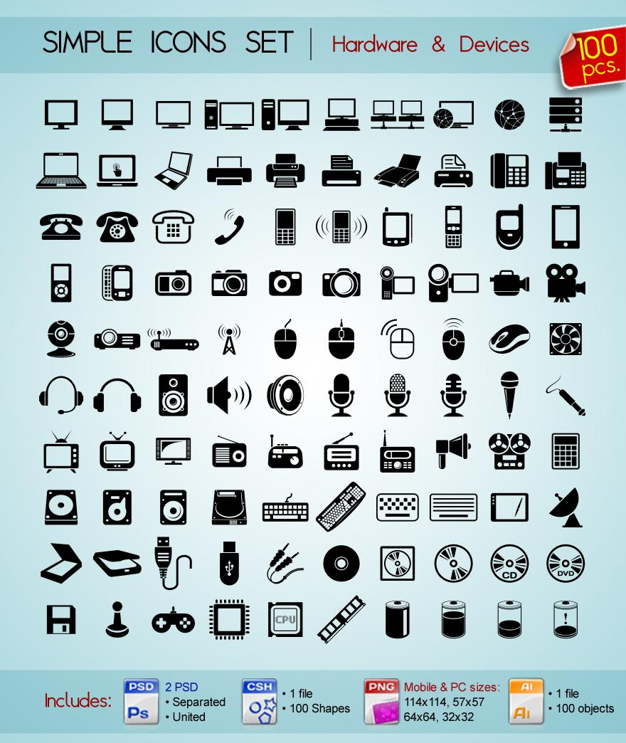 100 Simple icons • Devices & Hradware • - Icon Design - Creattica