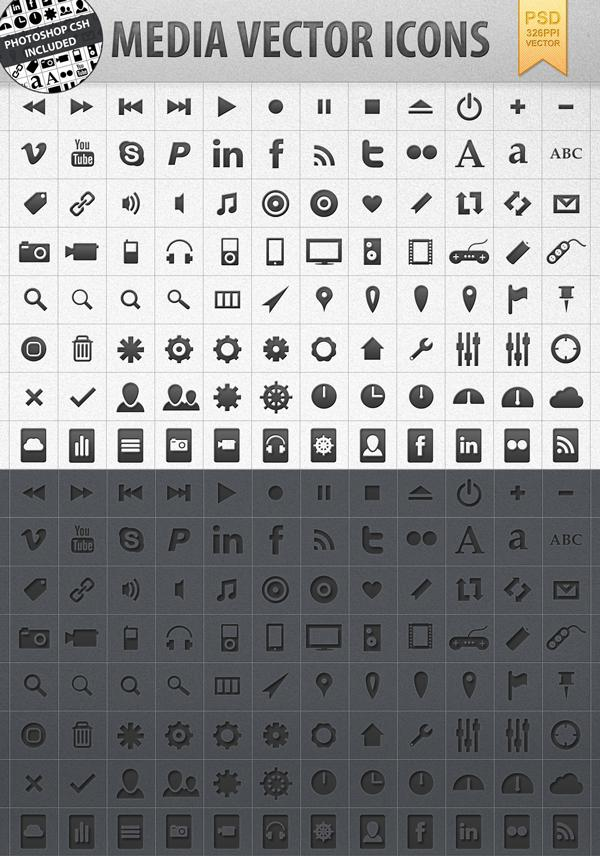 Media vector shape icons (CSH) - Icon Design - Creattica