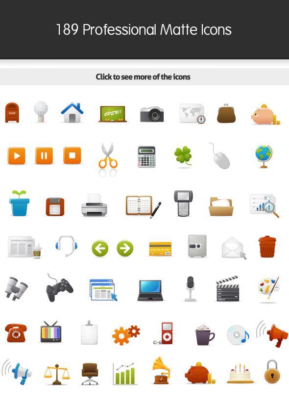 189 Vector - Professional Matte Icons - Icon Design - Creattica