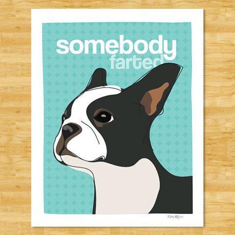 Boston Terrier Print Modern Dog Art Farted by PopDoggie on Etsy