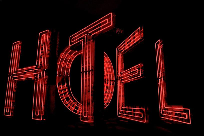neon HOTEL indicator built from recycled signs by tom fruin