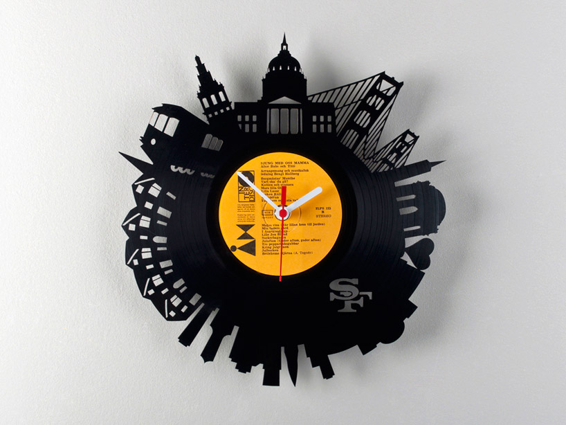 vinyl record city wall clocks