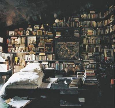 bed, bedroom, books, bookshelf, room - inspiring picture