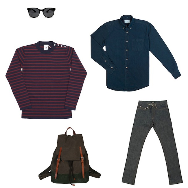 S.N.S. Herning Naval Blue Burgundy | Our Legacy 1940s Rinse Blue Shirt | A.P.C. New Standard Jeans | Ally Capellino Dean Backpack | Han Kjobenhavn Senior Sunglasses discount sale voucher promotion code | fashionstealer
