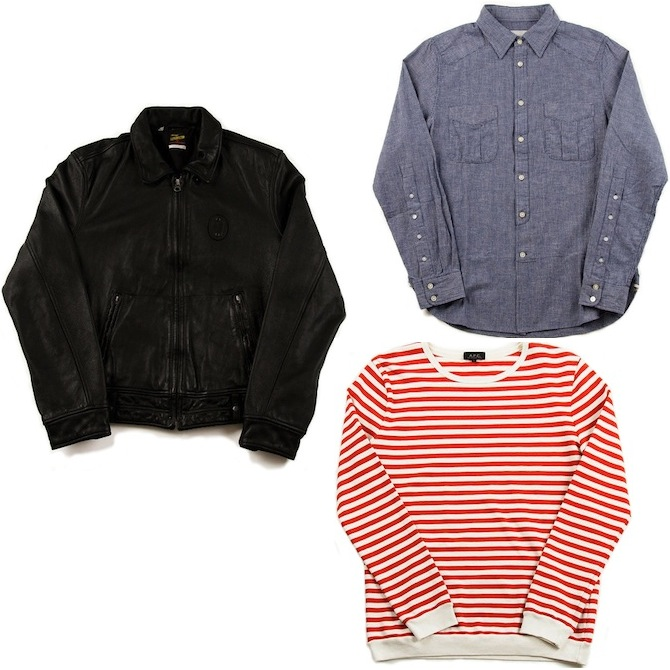 Levis Vintage Clothing Leather Biker | Wings + Horns Linen Stripe Selvedge Shirt | A.P.C Striped Shirt Red discount sale voucher promotion code | fashionstealer