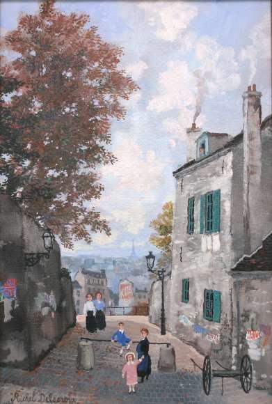 Michel Delacroix Rue Norvins a Montmartre Oil