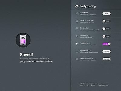 PartySmasher / Settings dashboard by musHo