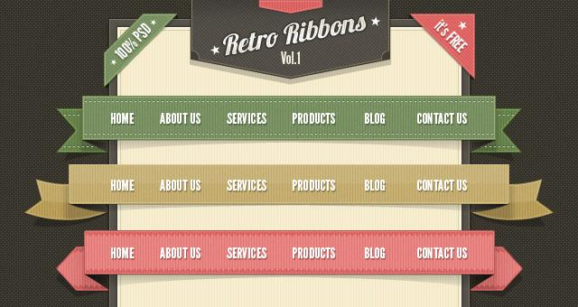 Retro Web Ribbons Vintage Psd Pack | Psd Web Elements | Pixeden