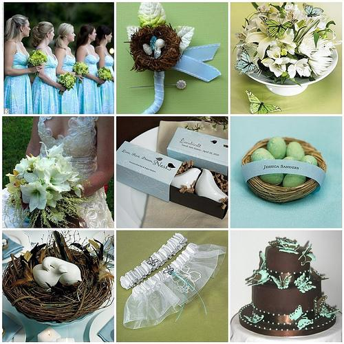 Things Festive Wedding Blog: Garden Wedding Ideas - Bird & Butterfly Theme in Blue, Green & Brown