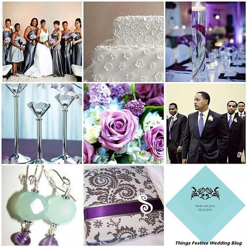 Things Festive Wedding Blog: Wedding Color Palette Idea - Tiffany Blue, Charcoal Grey and Victorian Purple