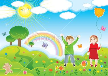 Happy kids in a magical land | Stock Illustration | iStock