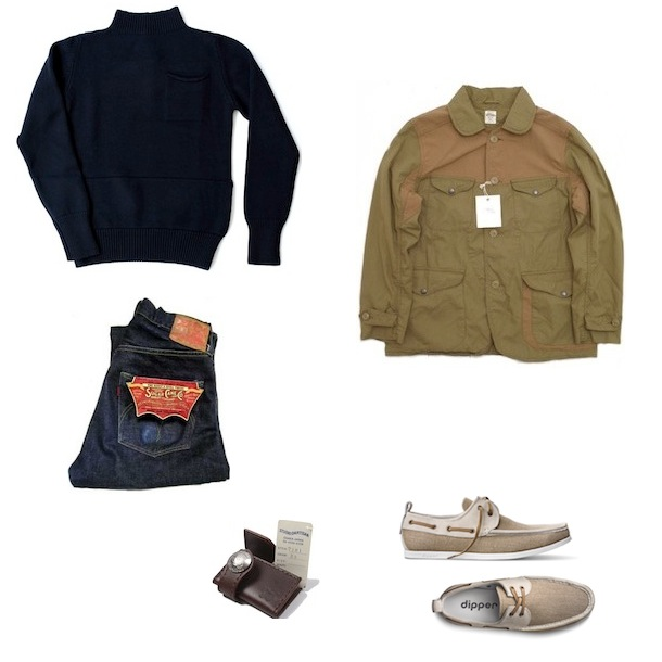 Spellbound Indy coat light brown   Nigel Cabourn Submarine knitted pull over navy merino wool   Sugar Cane Hawaii Paradise Jeans   Dipper Original NSW   Studio D'Artisan SDA Leather Wallet discount sale voucher promotion code   fashionstealer