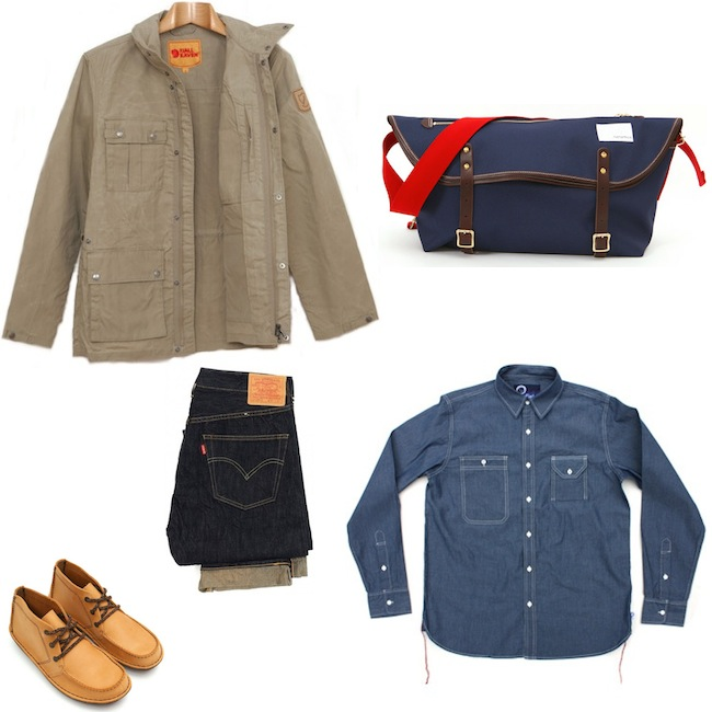 Fjallraven Oban Jacket Light Khaki | Penfield Corning Shirt Chambray | Levi's Vintage Clothing 1947 501 XX Rigid | Clarks Originals Oberon Boot Wheat Nubuck | Nanamica Messenger Bag Navy discount sale voucher promotion code | fashionstealer