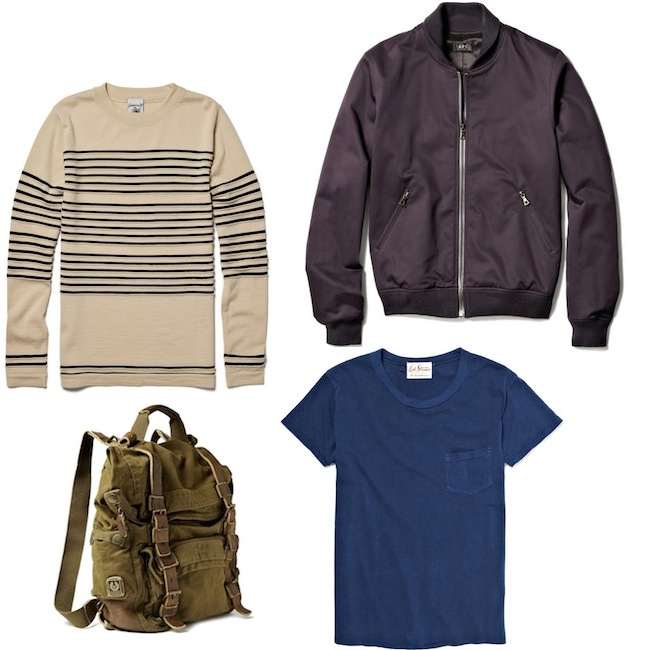 A.P.C. Bomber Jacket | S.N.S. Herning Crew Neck Wool Striped Sweater | Levi's Vintage Clothing Blue T-Shirt with Chest Pocket | Belstaff Double Sized Backpack discount sale voucher promotion code | fashionstealer