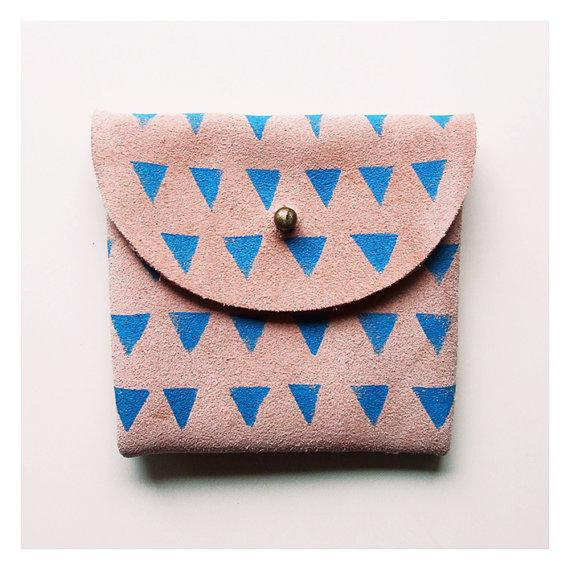 COIN PURSE // pink suede with small blue by BlackbirdAndTheOwl
