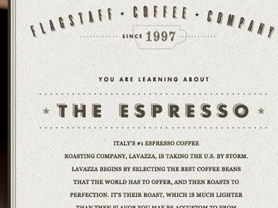 Interior Page for the Flagstaff Coffee Company Redesign by Caleb Royce Lummer