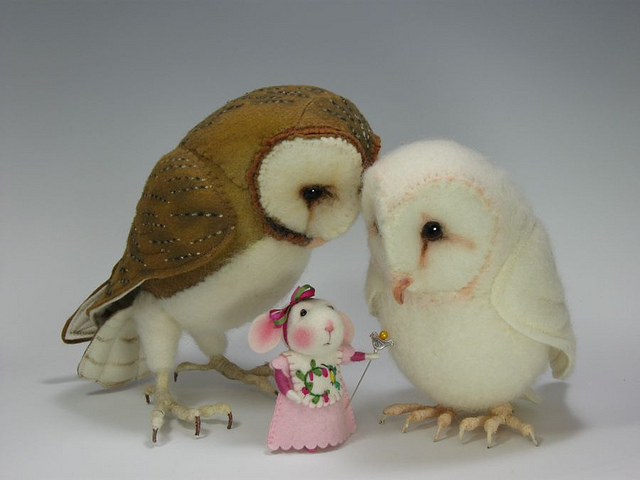 Needle Felted Bird Whisperer Bunny By Barby Anderson / Owls by Helen Priem | Flickr - Photo Sharing!