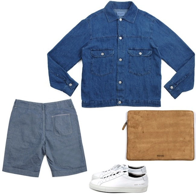 Our Legacy Jeans Jacket | YMC Chambray Shorts | Common Projects Achilles Low White | Wood Wood Laptop Bag discount sale voucher promotion code | fashionstealer
