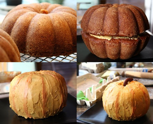 been at halloween / Two bundt cakes stacked and frosted = pumpkin cake. Great idea!