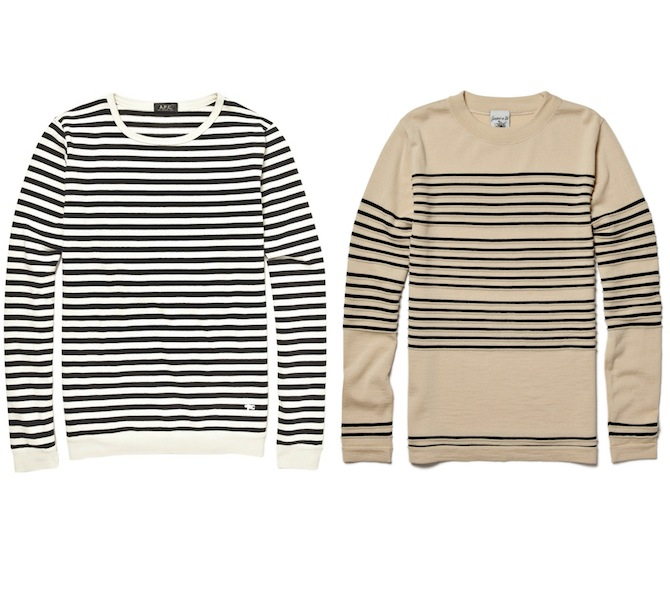 SNS Herning Crew Neck Wool Striped Sweater A.P.C. Striped Sweater discount sale voucher promotion code | fashionstealer