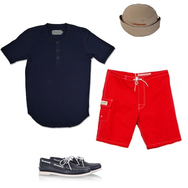 Wings + Horns Henley | Heritage Research Katin Board Shorts | Sperry Top Sider Navy Leather | Folk Stalker Hat discount sale voucher promotion code | fashionstealer
