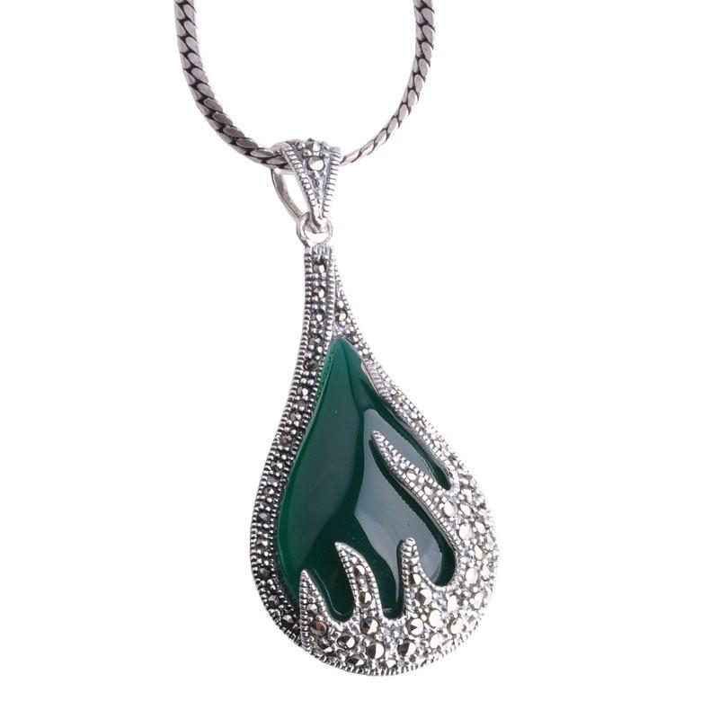 Thai Green Agate Female Version Flame Style Necklace
