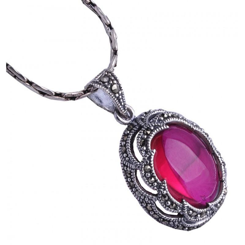 Mark Red Corundum Western Style 925 Thai Silver Necklace