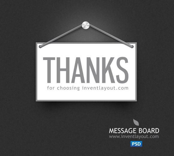 Thank you Message Board | Inventlayout.com - Download free PSD, AI resources like textures, icons, buttons, backgrounds and many many more...